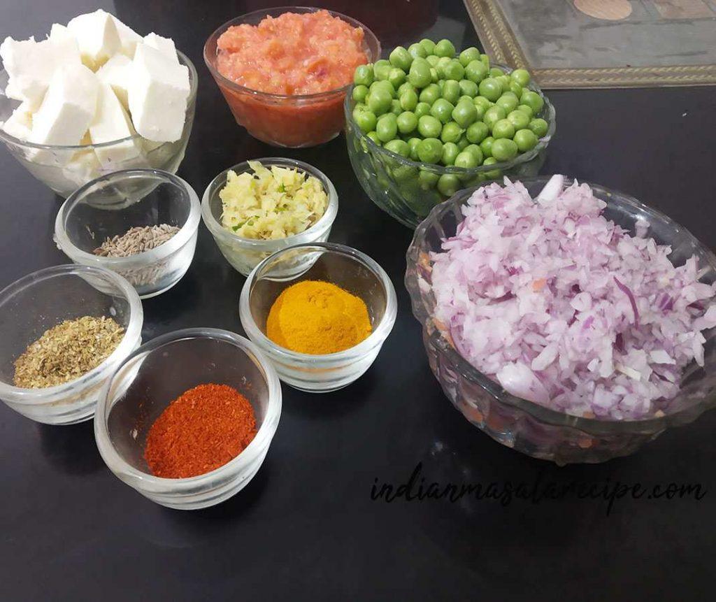 ingredients-for-matar-paneer-recipe